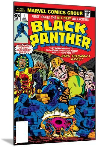 Black Panther No.1 Cover: Black Panther, Little, Abner and Princess Zanda Fighting-Jack Kirby-Mounted Art Print