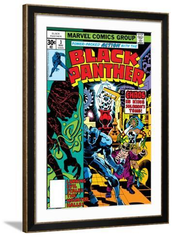Black Panther No.3 Cover: Black Panther, Princess Zanda, Hatch-22, Little and Abner Charging-Jack Kirby-Framed Art Print
