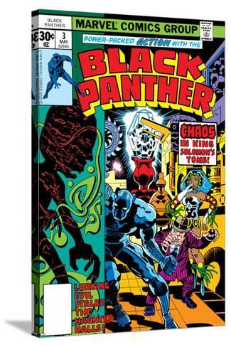Black Panther No.3 Cover: Black Panther, Princess Zanda, Hatch-22, Little and Abner Charging-Jack Kirby-Stretched Canvas Print