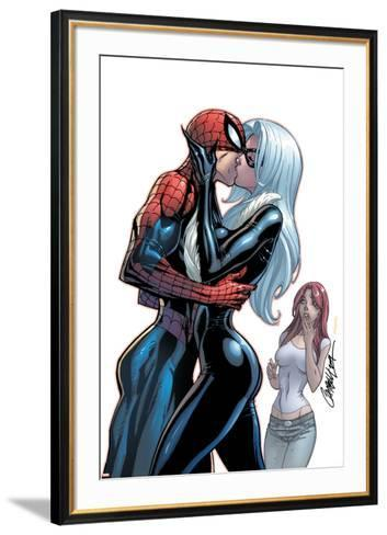 The Amazing Spider-Man No.606 Cover: Spider-Man, Black Cat and Mary Jane Watson-J. Scott Campbell-Framed Art Print