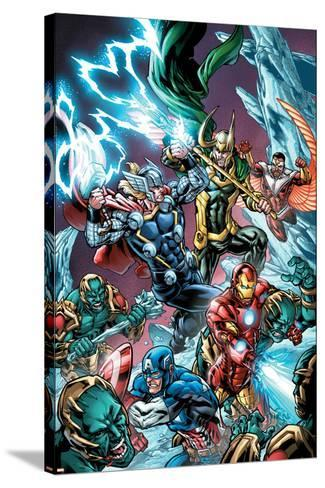 Avengers Assemble Panel Featuring Captain America, Iron Man, Thor, Loki, Falcon--Stretched Canvas Print