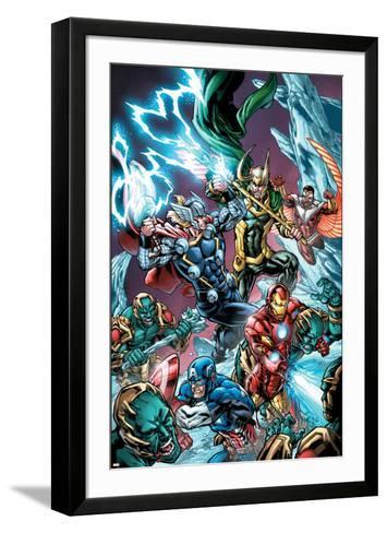 Avengers Assemble Panel Featuring Captain America, Iron Man, Thor, Loki, Falcon--Framed Art Print