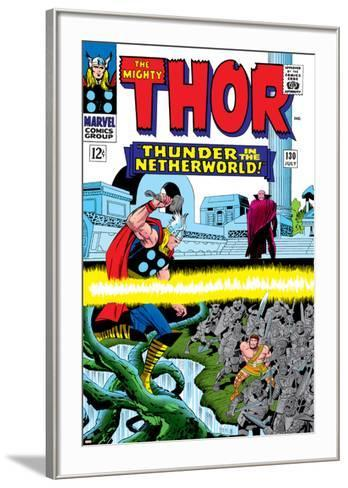 Marvel Comics Retro: The Mighty Thor Comic Book Cover No.130, Thunder in the Netherworld, Hercules--Framed Art Print