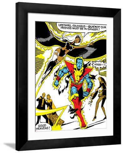 Marvel Comics Retro: X-Men Comic Panel, Colossus, Storm, Charging and Flying--Framed Art Print