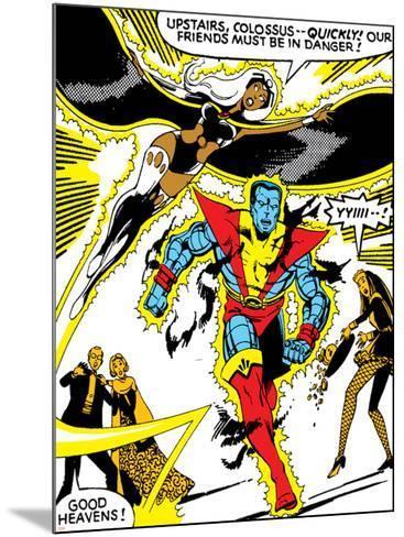 Marvel Comics Retro: X-Men Comic Panel, Colossus, Storm, Charging and Flying--Mounted Art Print