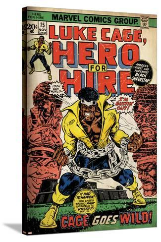 Marvel Comics Retro: Luke Cage, Hero for Hire Comic Book Cover No.15, in Chains (aged)--Stretched Canvas Print