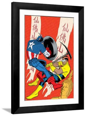 X-Statix No.22 Cover: Captain America and The Anarchist Fighting and Shooting-Michael Allred-Framed Art Print