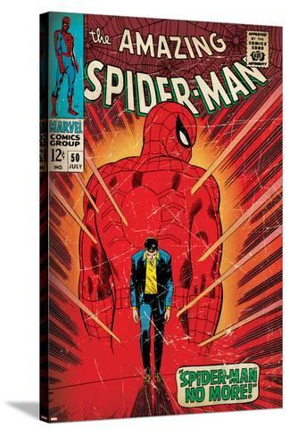Marvel Comics Retro: The Amazing Spider-Man Comic Book Cover No.50, Spider-Man No More! (aged)--Stretched Canvas Print