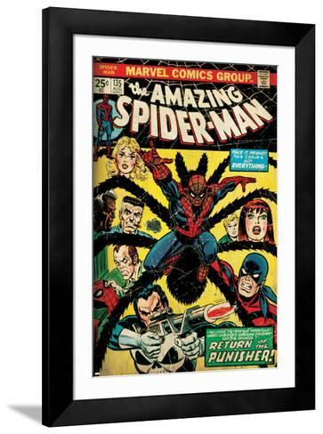 Marvel Comics Retro: The Amazing Spider-Man Comic Book Cover No.135, Return of the Punisher! (aged)--Framed Art Print