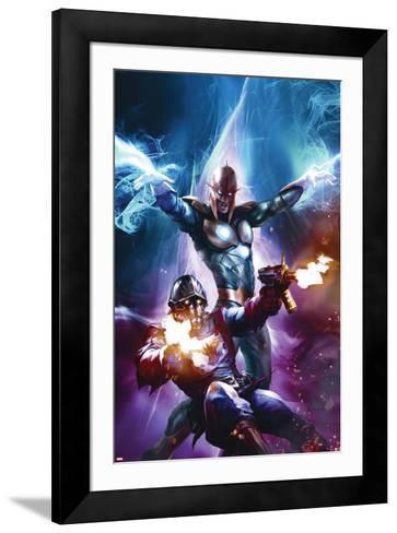 The Thanos Imperative No.6 Cover: Star-Lord and Nova Shooting-Aleksi Briclot-Framed Art Print