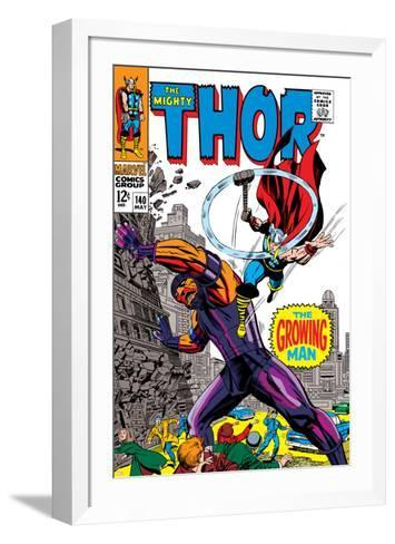 Thor No.140 Cover: Thor and Growing Man Fighting-Jack Kirby-Framed Art Print