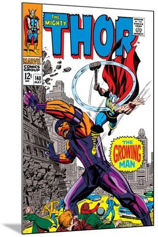 Thor No.140 Cover: Thor and Growing Man Fighting-Jack Kirby-Mounted Art Print