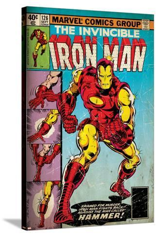 Marvel Comics Retro: The Invincible Iron Man Comic Book Cover No.126, Suiting Up for Battle (aged)--Stretched Canvas Print