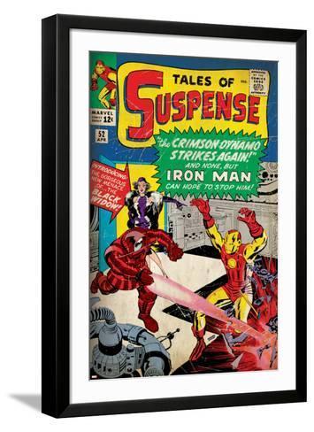Marvel Comics Retro: The Invincible Iron Man Comic Book Cover No.52, Facing the Crimson Dynamo--Framed Art Print