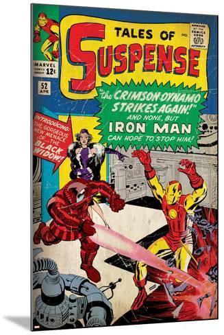 Marvel Comics Retro: The Invincible Iron Man Comic Book Cover No.52, Facing the Crimson Dynamo--Mounted Art Print