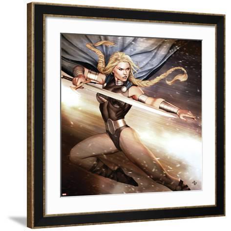 Secret Avengers No.14 Cover: Valkyrie Jumping with a Sword-Adi Granov-Framed Art Print