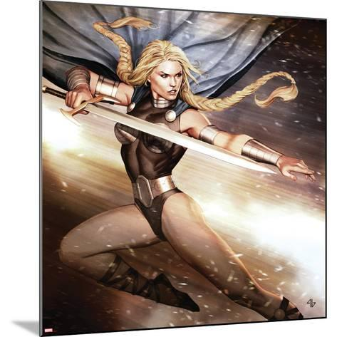 Secret Avengers No.14 Cover: Valkyrie Jumping with a Sword-Adi Granov-Mounted Art Print