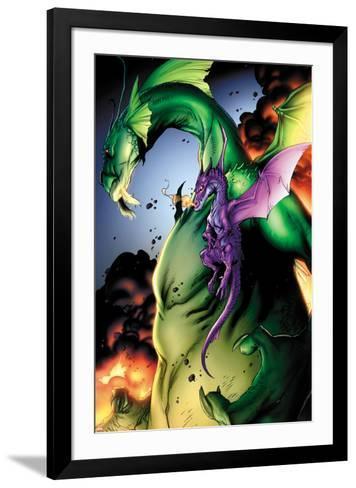 Avengers vs. Pet Avengers No.2: Fin Fang Foom and Lockheed Flying-Ig Guara-Framed Art Print