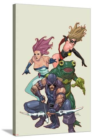 Spider-Island: Avengers No.1: Hawkeye, Ms. Marvel, Jessica Jones, and Frog-Man-Leinil Francis Yu-Stretched Canvas Print