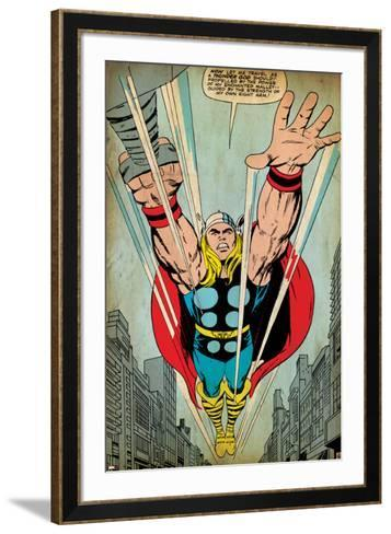 Marvel Comics Retro: Mighty Thor Comic Panel, Flying (aged)--Framed Art Print