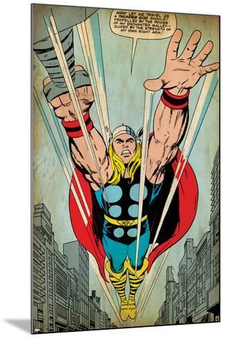 Marvel Comics Retro: Mighty Thor Comic Panel, Flying (aged)--Mounted Art Print