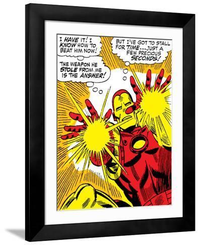 Marvel Comics Retro: The Invincible Iron Man Comic Panel, Fighting and Shooting--Framed Art Print