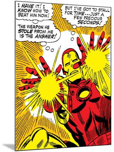 Marvel Comics Retro: The Invincible Iron Man Comic Panel, Fighting and Shooting--Mounted Art Print
