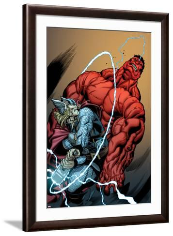 Hulk No.26 Cover: Rulk and Thor Fighting-Ed McGuinness-Framed Art Print