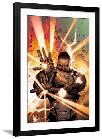 Iron Man 2.0 No.11 Cover: War Machine Shooting Energy-Salvador Larroca-Framed Art Print