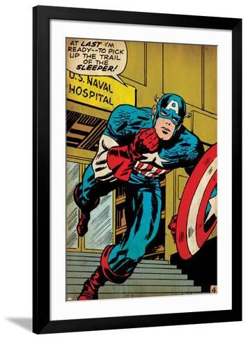 Marvel Comics Retro: Captain America Comic Panel, U.S. naval Hospital (aged)--Framed Art Print