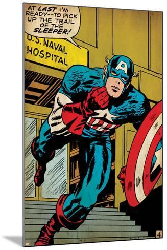 Marvel Comics Retro: Captain America Comic Panel, U.S. naval Hospital (aged)--Mounted Art Print
