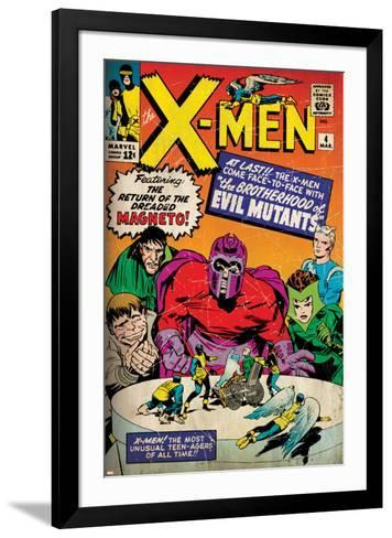 Marvel Comics Retro: The X-Men Comic Book Cover No.4, Scarlet Witch, Quicksilver, Toad(aged)--Framed Art Print