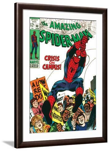 Marvel Comics Retro: The Amazing Spider-Man Comic Book Cover No.68, Crisis on Campus--Framed Art Print