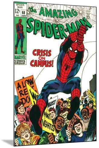 Marvel Comics Retro: The Amazing Spider-Man Comic Book Cover No.68, Crisis on Campus--Mounted Art Print