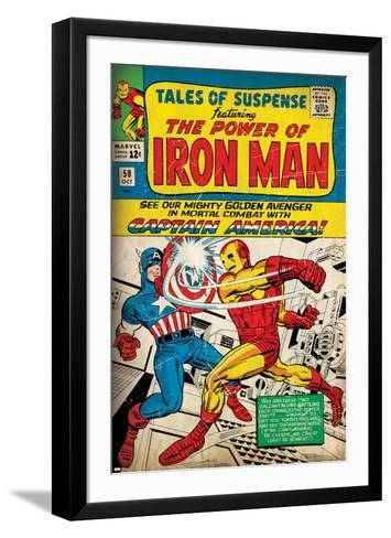 Marvel Comics Retro: The Invincible Iron Man Comic Book Cover No.58, Facing Captain America (aged)--Framed Art Print