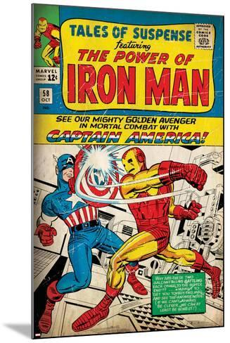 Marvel Comics Retro: The Invincible Iron Man Comic Book Cover No.58, Facing Captain America (aged)--Mounted Art Print