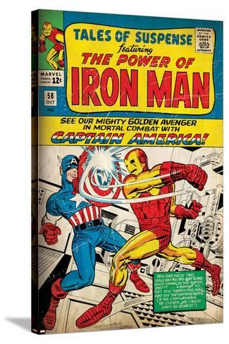 Marvel Comics Retro: The Invincible Iron Man Comic Book Cover No.58, Facing Captain America (aged)--Stretched Canvas Print