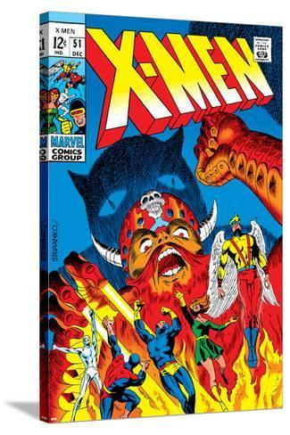 X-Men No.51 Cover: Erik The Red, Cyclops, Angel, Iceman and X-Men-Arnold Drake-Stretched Canvas Print