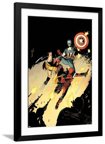 Deadpool #15 Cover: Deadpool, Wolverine, Captain America-Declan Shalvey-Framed Art Print