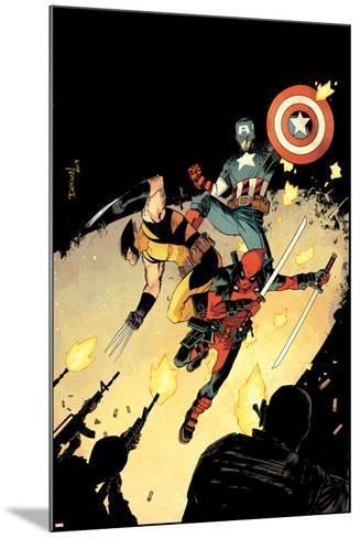 Deadpool #15 Cover: Deadpool, Wolverine, Captain America-Declan Shalvey-Mounted Art Print