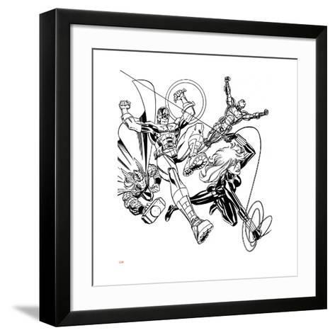 Avengers Assemble Inks Featuring Iron Man, Captain America, Thor, Black Widow--Framed Art Print