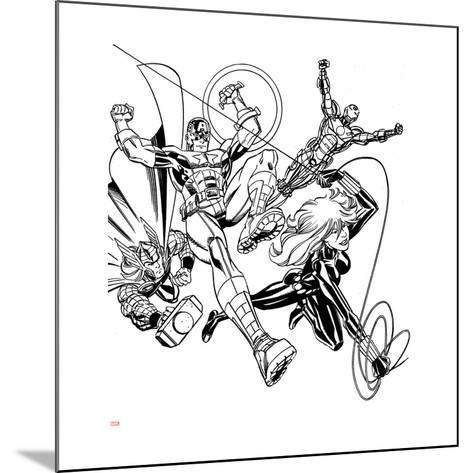 Avengers Assemble Inks Featuring Iron Man, Captain America, Thor, Black Widow--Mounted Art Print