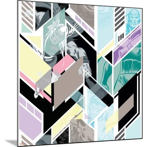 Marvel Comics Retro Pattern Design Featuring Hulk, Thor, Vision--Mounted Art Print