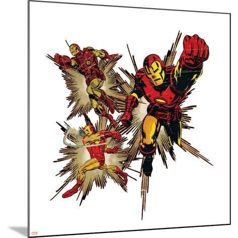 Marvel Comics Retro Badge Featuring Iron Man--Mounted Art Print