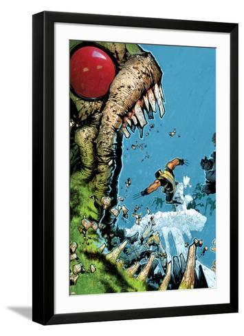 Wolverine & The X-Men No.2 Cover: Wolverine, Iceman, and Hulk Fighting-Chris Bachalo-Framed Art Print