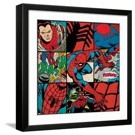 Marvel Comics Retro Badge Featuring Spider Man--Framed Art Print