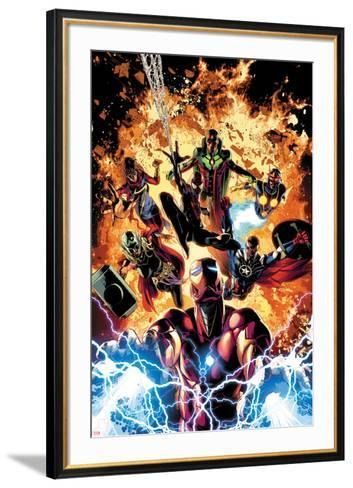Invincible Iron Man No. 11 Cover Art Featuring: Ms. Marvel, Vision, Nova, Falcon Cap and More-Mike Deodato-Framed Art Print