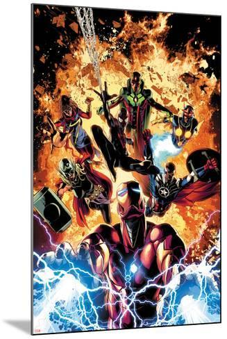 Invincible Iron Man No. 11 Cover Art Featuring: Ms. Marvel, Vision, Nova, Falcon Cap and More-Mike Deodato-Mounted Art Print