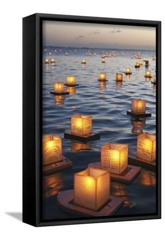 Annual Lantern Floating Ceremony During Sunset at Ala Moana; Oahu, Hawaii, United States of America-Design Pics Inc-Framed Canvas Print