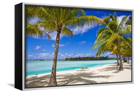 Palm Trees, Lounge Chairs, and White Sand on a Tropical Beach-Mike Theiss-Framed Canvas Print